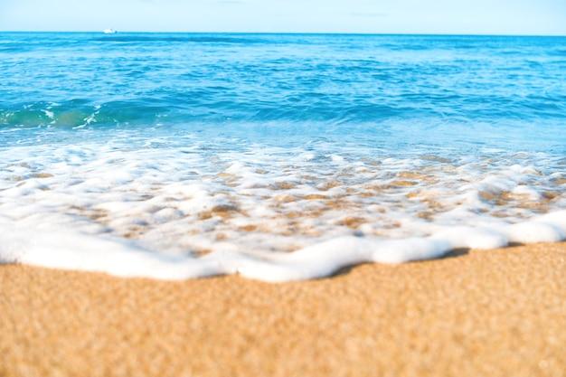 Spiaggia tropicale con onde di sabbia e mare sullo sfondo