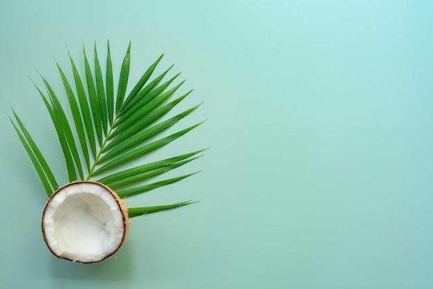 Foglia di palma verde tropicale e cocco incrinato su sfondo verde
