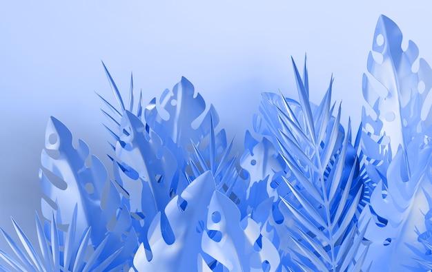 Cornice di foglie di palma iridescente tropicale