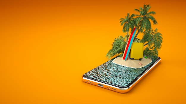 Isola tropicale con palme, valigia e tavola da surf sullo schermo di uno smartphone