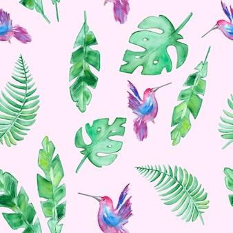 Modello di foglie tropicali e colibrì