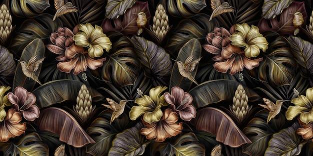 Modello senza cuciture dorato vintage di lusso tropicale con uccelli, ibisco, fiori di protea, monstera, foglie di banano, palme
