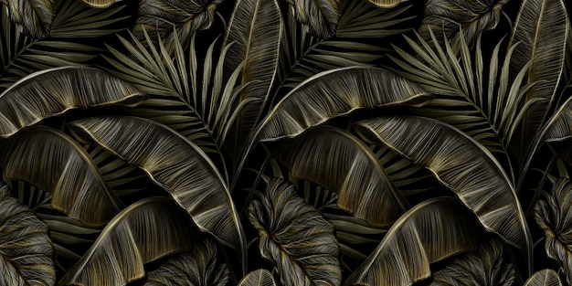 Modello senza cuciture d'annata di lusso tropicale con foglie di banano dorato scuro, palma, colocasia esculenta