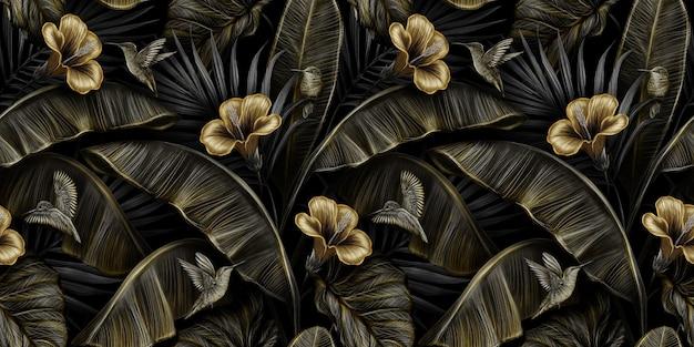 Modello senza cuciture vintage di lusso tropicale con ibisco oro, uccelli colibri, foglie di banano, foglie di palma