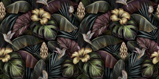 Modello senza cuciture d'annata di lusso tropicale con ibisco d'oro, fiore di protea, uccelli, monstera, foglie di banano, palma
