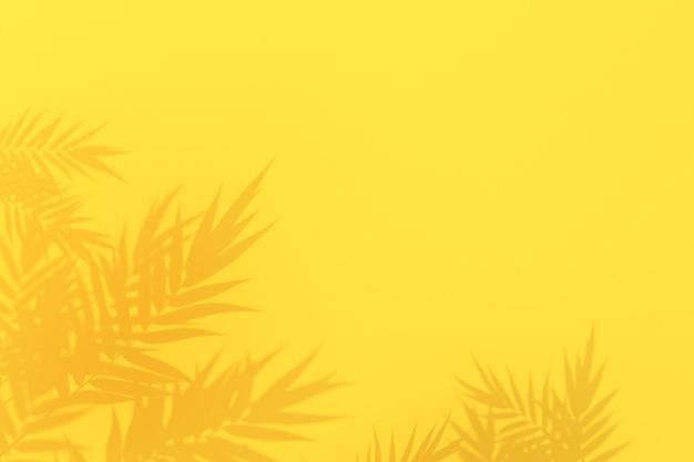Foglie di palma tropicali ombra su sfondo giallo, rendering 3d.