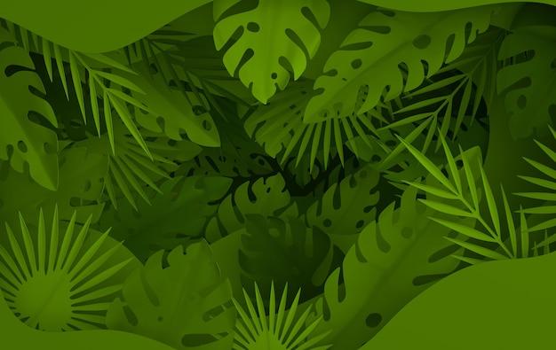 Cornice di foglie di palma di carta tropicale cornice di foglie verdi tropicali estive e strati di fori di carta