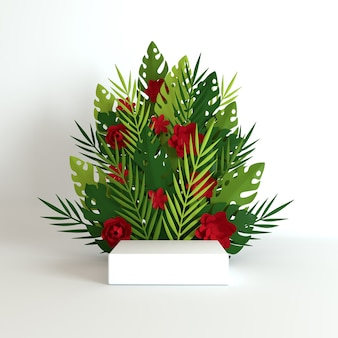 Foglie e fiori di monstera di palma di carta tropicale incorniciano la piattaforma del podio per la presentazione del prodotto