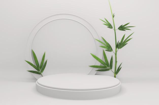 Decorazione giapponese geometrica e bambù minima del podio tropicale. rendering 3d