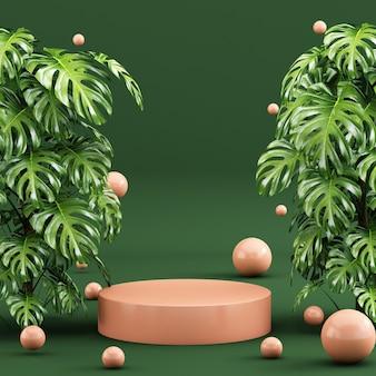 Scena tropicale con podio a forma di geometria e lasciare lo sfondo Foto Premium