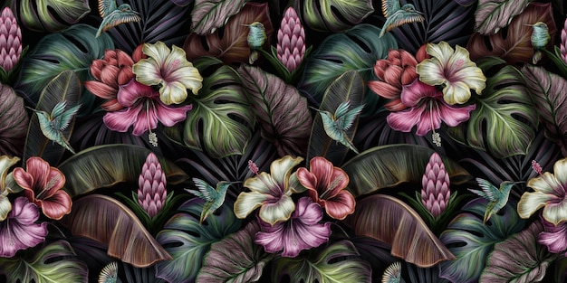 Modello senza cuciture tropicale con uccelli, ibisco, fiori di protea, monstera, foglie di banano, palme