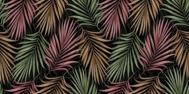 Modello senza cuciture tropicale con foglie di palma di colore su sfondo scuro