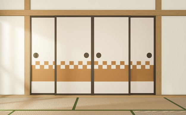 Camera in stile tropicale interno, stanza vuota in stile giapponese. rendering 3d