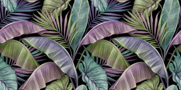 Modello senza cuciture vintage tropicale con foglie di banano colorate, palme, colocasia esculenta