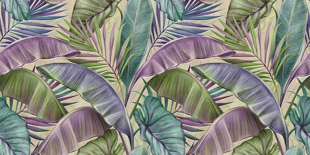 Modello senza cuciture vintage tropicale con foglie di banano pastello, palma, colocasia esculenta