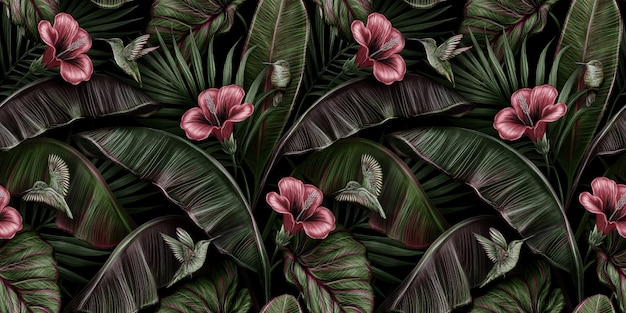 Modello senza cuciture vintage tropicale con ibisco rosso, uccelli colibri, foglie di banano, palme