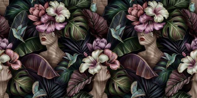 Modello senza cuciture vintage tropicale con donne, ibisco, fiori protea, uccelli colibri, foglie di banano, monstera, palma, colocasia esculenta