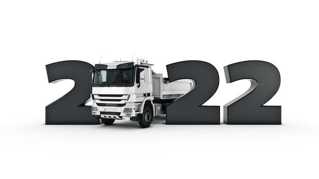 Concetto di camion rendering 3d del segno del nuovo anno 2022