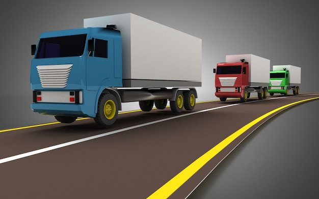 Camion sul concetto di autostrada senza pedaggio. illustrazione 3d