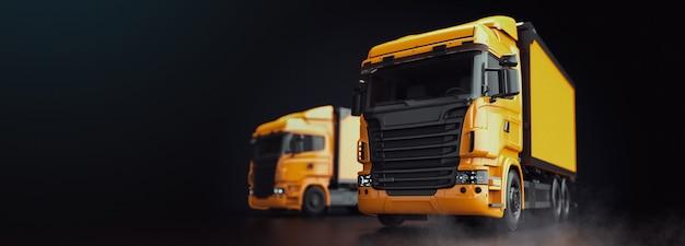 Il camion è su uno sfondo nero. rendering e illustrazione di camion 3d.