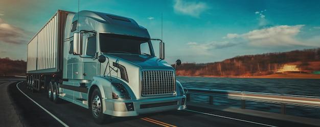 Camion sulla strada. rendering 3d e illustrazione.