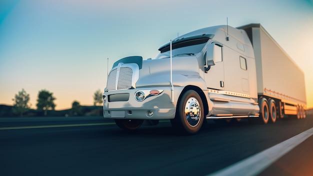 Il camion corre sull'autostrada.3d rendering e illustrazione. Foto Premium