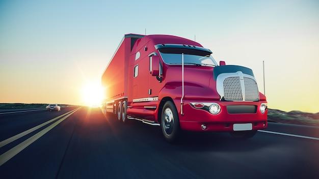 Il camion corre sull'autostrada.3d rendering e illustrazione.