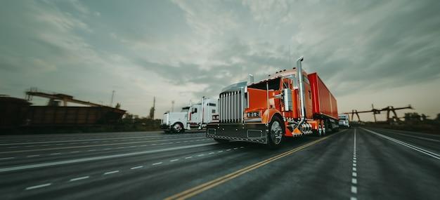 Il camion corre in autostrada a velocità. rendering 3d e illustrazione.