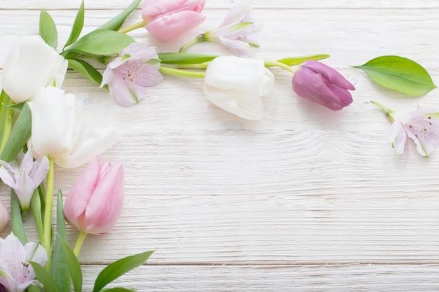 Tulipani su fondo di legno bianco. vista superiore di concetto donna o festa della mamma