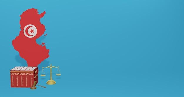 Legge tunisina per infografiche, contenuti dei social media nel rendering 3d