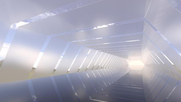 Tunnel sotto il cielo azzurro d rendering