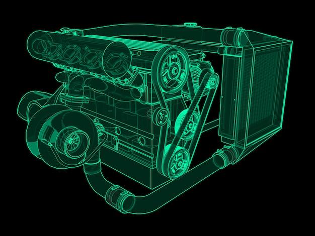 Motore turbo a quattro cilindri ad alte prestazioni per auto sportiva bagliore al neon verde su nero