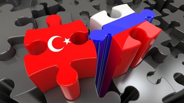 Bandiere della turchia e della russia sui pezzi del puzzle. concetto di relazione politica. rendering 3d