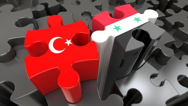 Bandiere della turchia e della siria sui pezzi del puzzle. concetto di relazione politica. rendering 3d