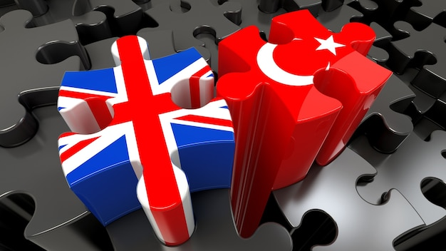 Bandiere della turchia e del regno unito sui pezzi del puzzle. concetto di relazione politica. rendering 3d