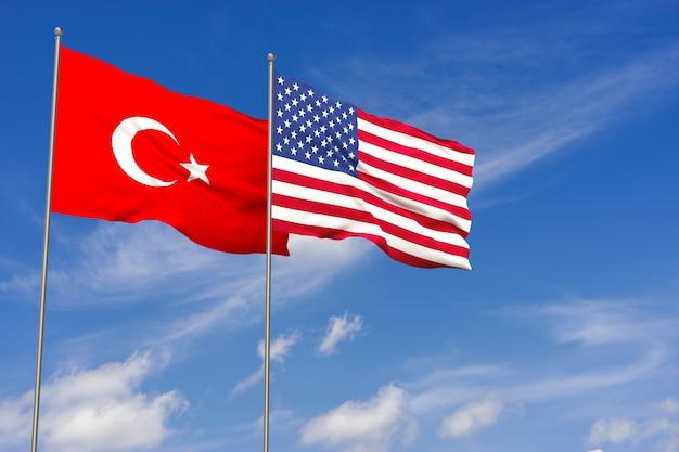 Bandiere della turchia e degli stati uniti sopra il fondo del cielo blu. illustrazione 3d