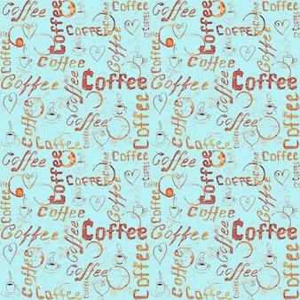 Modello senza cuciture di caffè turchese con scritte, cuori, tazzine da caffè e tracce di tazze