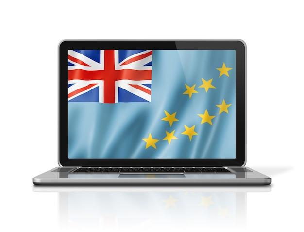 Bandiera di tuvalu sullo schermo del computer portatile isolato su bianco. rendering di illustrazione 3d.