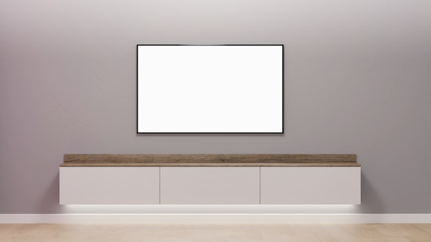 Area tv in un rendering 3d minimalista Foto Premium