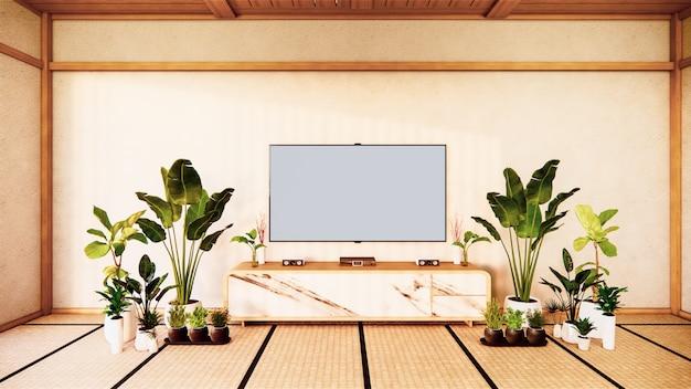 Mobile tv in soggiorno giapponese sulla parete bianca, rendering 3d