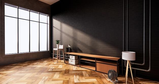 Mobile tv in muro di mattoni bianchi interni loft