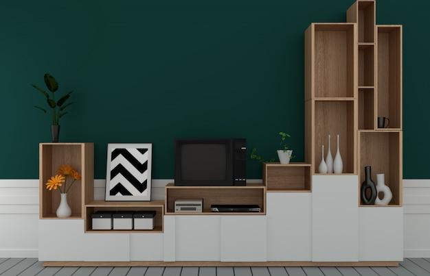 Tv sul gabinetto nella stanza vuota moderna, parete verde scuro sul pavimento di legno, rappresentazione 3d