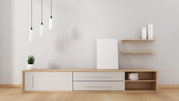 Mobile tv in moderna stanza vuota giapponese - stile zen, design minimal. rendering 3d