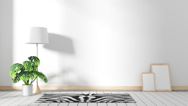 Mobile tv in moderna stanza vuota giapponese - stile zen, design minimal