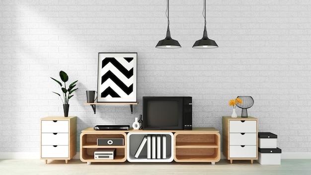 Gabinetto della tv nella stanza vuota moderna sul fondo bianco del muro di mattoni, rappresentazione 3d