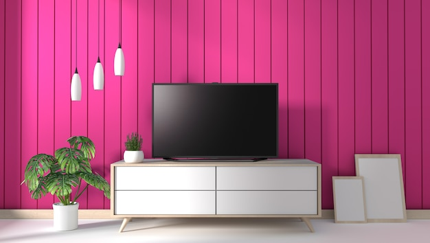 Tv sul gabinetto nel salotto moderno sul fondo della parete rosa