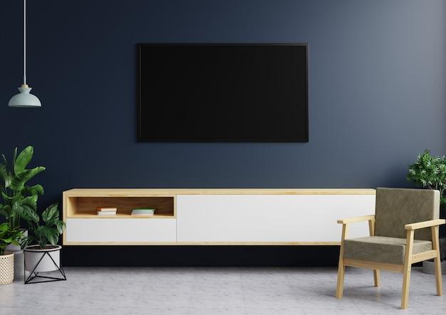 La tv sulle pareti blu scuro del soggiorno moderno presenta una lampada a sospensione, decorazioni vegetali e una sedia su un pavimento piastrellato. rendering 3d.