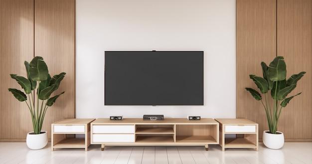 Tv sulla parete vuota e sulla parete in legno di design giapponese in soggiorno in stile zen