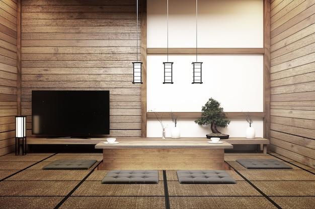Tv giappone - smart tv sul tavolo in stile giapponese con lampada e bonsai.