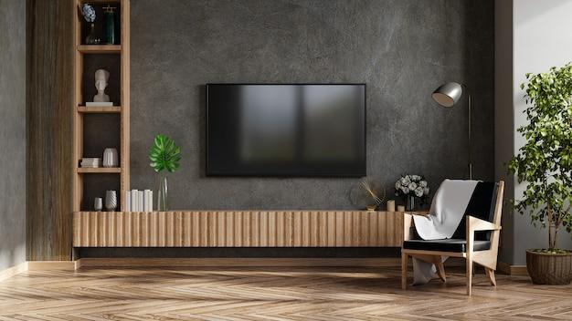 Una tv in soggiorno moderno con poltrona e pianta su sfondo muro di cemento, rendering 3d